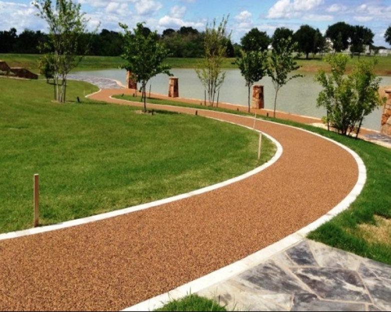 No Fault Safety Surface on a walking/jogging trail ideal for Public Fitness Zones or CrossFit.